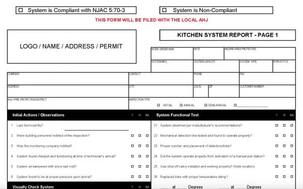 International Fire Code, New Jersey Edition 2015: Kitchen Form.