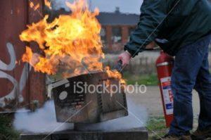 battling a grill fire